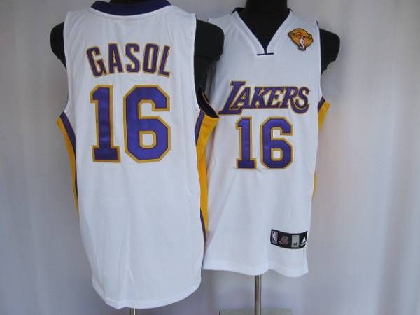 a108aa9314a ... Lakers 16 Pau Gasol Embroidered White Final Patch NBA Jersey!20.50USD.