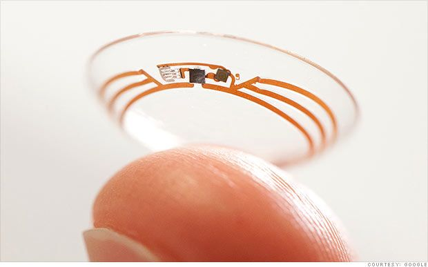 Google's Smart Contact Lens to Monitor Blood Sugar by  David Goldman, CNN: The prototype contacts are outfitted with tiny wireless chips and glucose sensors, sandwiched between two lenses. They are able to measure blood sugar levels once per second, and Google is working on putting LED lights inside the lenses that would flash when those levels are too low or high. #Diabetes #Glucose_Monitor #Contact_Lens