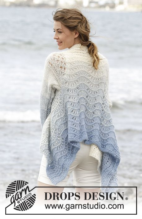"""Shades of Sky - jacket worked in a square with wave pattern , worked top down in 1 strand """"Alpaca"""" and 2 strands """"Kid-Silk"""". Free #knitting pattern"""