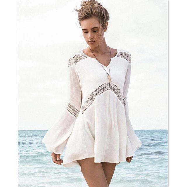 2015 мода женщины с длинным рукавом пляж платье, Сексуальная V шеи белый черное кружево гавайские платья пляж туника