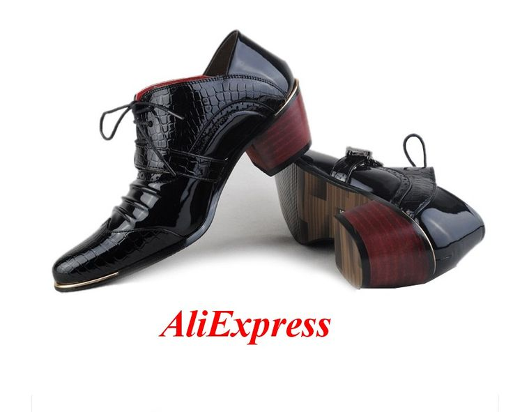 Aliexpress Men. Patent Leather Oxford Shoes For Men Luxury Brand Lace Up Wedding Shoes Cow Muscle Pointed Toe Medium Square Heel Shoes Men