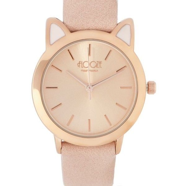 Floozie by Frost French Ladies rose gold cat watch, ring and necklace... (155 BRL) ❤ liked on Polyvore featuring jewelry, watches, red gold jewelry, rose gold jewellery, rose gold wrist watch, pink gold watches and cat jewelry