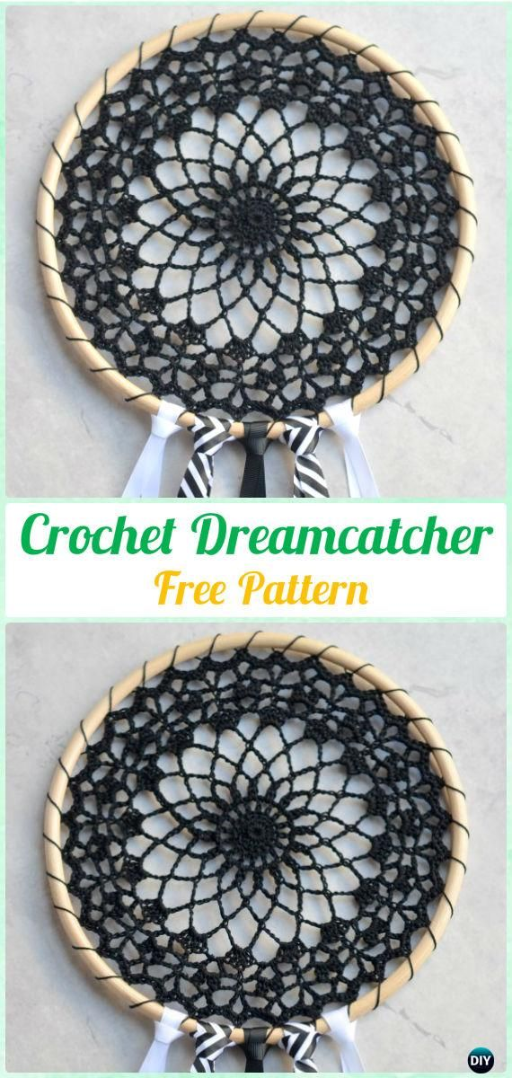 Crochet Black Dream Catcher Free Pattern -Crochet Dream Catcher Free Patterns