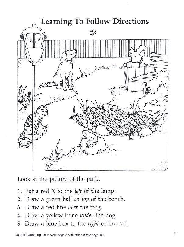 following directions park- prepositions/locatives ...