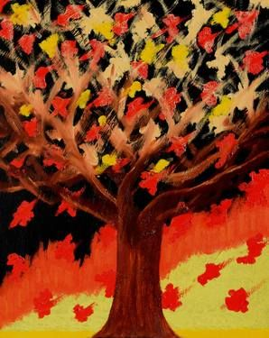 SOLD: Original Painting: Fall Birds by Sandra Spalding. #tree #sapling #timber #wood #wooden #lumber #brown #red #yellow #fire #blaze #heat #inferno #black #dark #birds #fowl #animals #birdies #feathers #game #leaves #foliage #branches #twigs #sticks #fall #autumn #ignite #light #scorch #leaf #burn #burning #trunk #texture #color #bright #colorful #flame #brilliant #intense #radiant #originalpainting #vivid #vibrant #decorative #contemporary #modern #abstract #oil #acrylic #canvas #painting