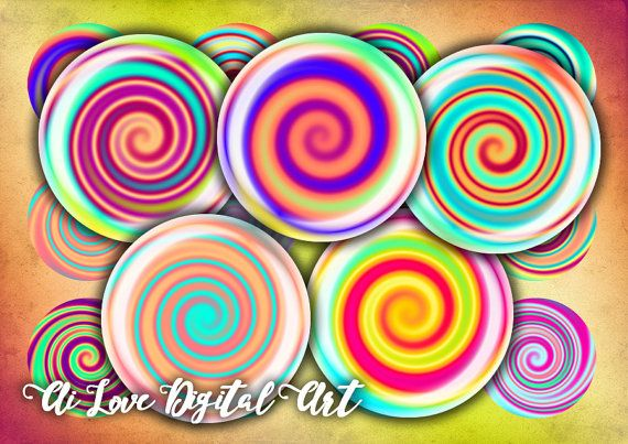 Instant download cabochon template Spiral digital collage