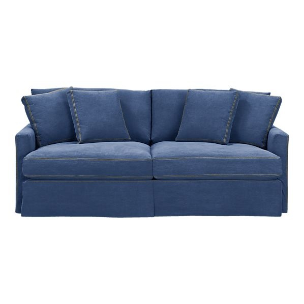 Crate barrell denim sofa blue lounge 83 slipcovered sofa wish it had rolled arms Denim loveseat