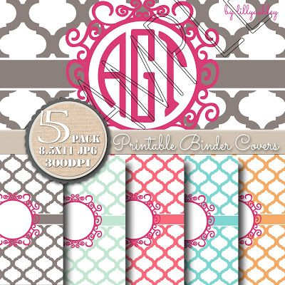 Printable Binder Covers Set includes backings. Print and slip into clear covering of three ring binders.