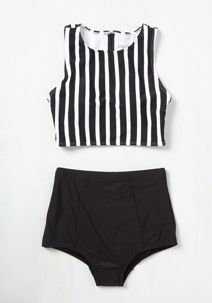 Good Volley, Miss Molly! Swimsuit Top in Stripes. Set and serve some stellar style by striking up a beach volleyball game in this swimsuit top! #black #modcloth