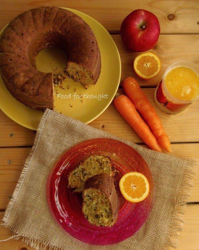 Κέικ με μήλο, καρότο, καρύδα και cocoa nibs