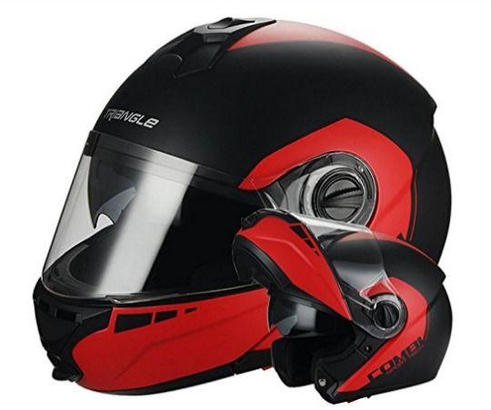 Best Motorcycle Helmets for Girls under $100 - Matte Black Red Modular Dual Visor Flip Up Helmet by Triangle DOT