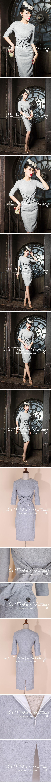 le palais vintage限量 优雅浅灰蝴蝶结腰封修身毛呢连衣裙【0.4-淘宝网