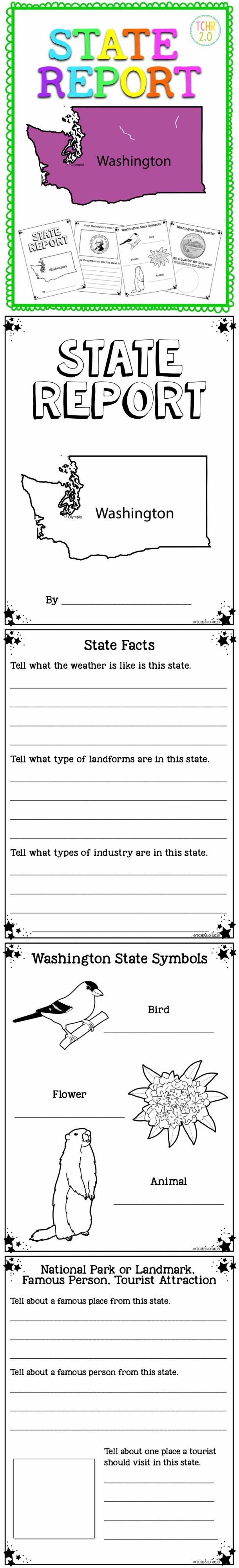 This is a 31 page unit that you can use to complete a research unit on the state of Washington. There are many activities to choose from and you will be able to use them to differentiate depending on your students needs. You can make a state booklet that your students can use to record their research.