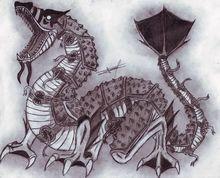 """CIPACTLI: EL MONSTRUO AZTECA -  En el principio, todo era oscuridad, cuentan nuestros antepasados aztecas.    Dos serpientes se preocuparon para darle al mundo una forma, y al no saber qué hacer, decidieron consultar a los dioses.""""Deben tomar a Cipactli, monstruo femenino y acuático, y partirlo por la mitad para formar el mundo"""", fue la indicación...            Mitad cocodrilo, mitad pez, esta criatura marina, monstruosa y eternamente hambrienta, tenía dieciochocuerpos, cada uno de ellos…"""