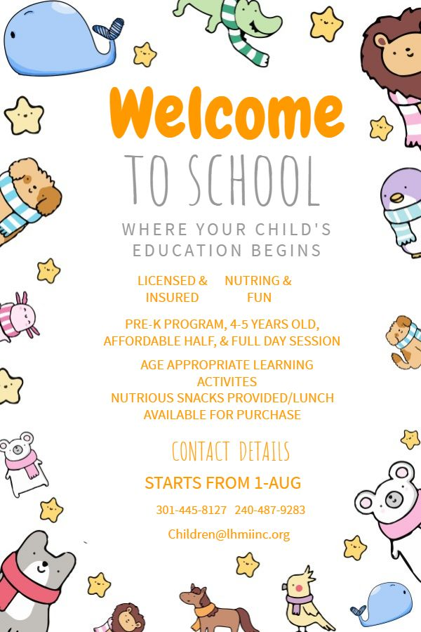 Cute Welcome To School Enrollment Poster Template Welcome To