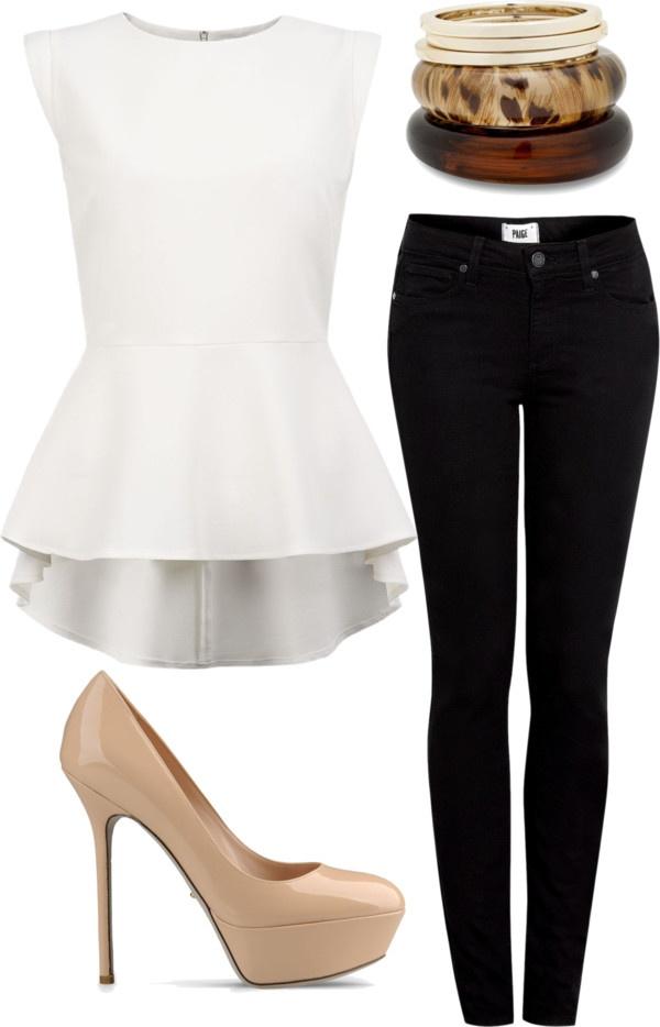 #moda #tacones #peplumblouse #skinnyjeans