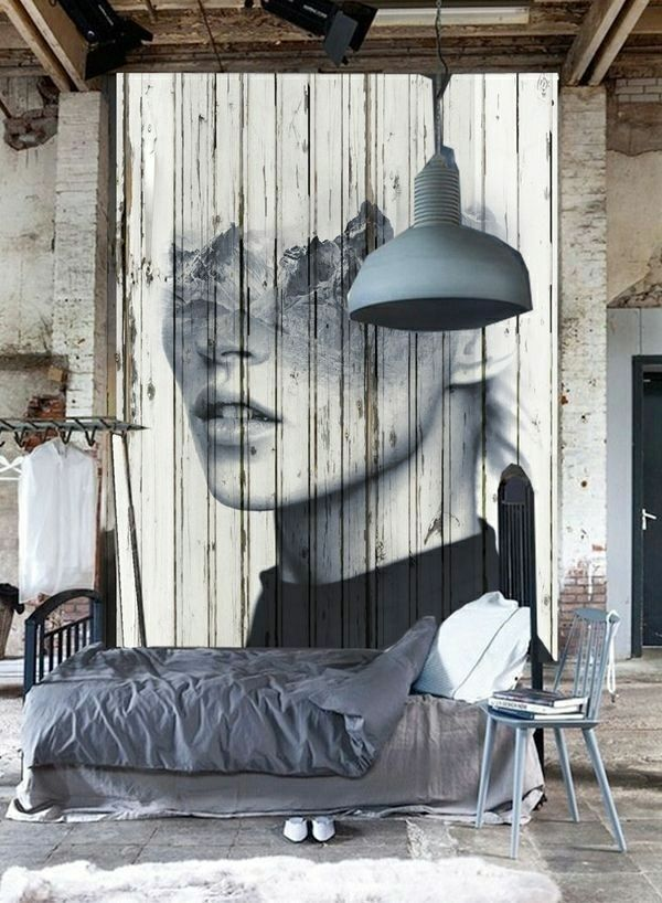 aménagement salon, peintures murales, lustre gris, murs extraordinaires, lit