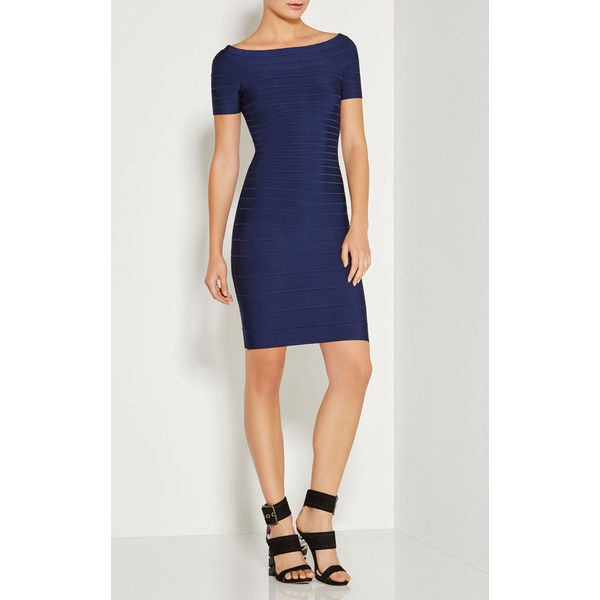 Herve Leger Carmen Off-The-Shoulder Signature Bandage Dress ($950) ❤ liked on Polyvore featuring dresses, gowns, blue, blue bandage dress, short-sleeve dresses, blue short sleeve dress, blue gown and blue ball gown