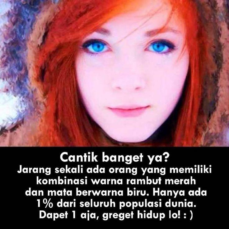Cantik banget ya? jarang sekali ada orang yg memiliki kombinasi warna rambut merah dan mata biru. Hanya ada 1% dri seluruh populasi dunia. Dapet 1 aja, greget hidup lo! :)