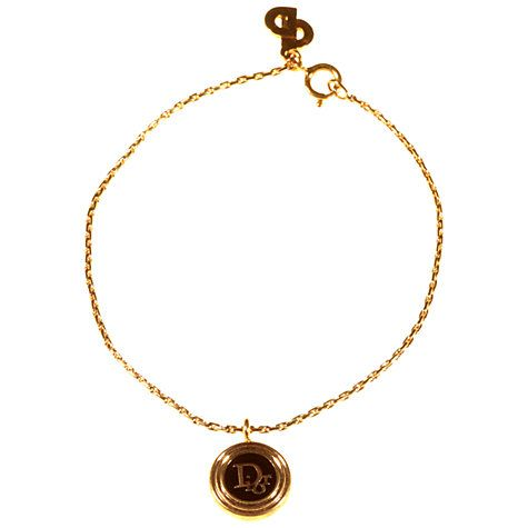 Buy Alice Joseph Vintage 1980s Christian Dior Logo Charm Bracelet, Gold/Black Online at johnlewis.com