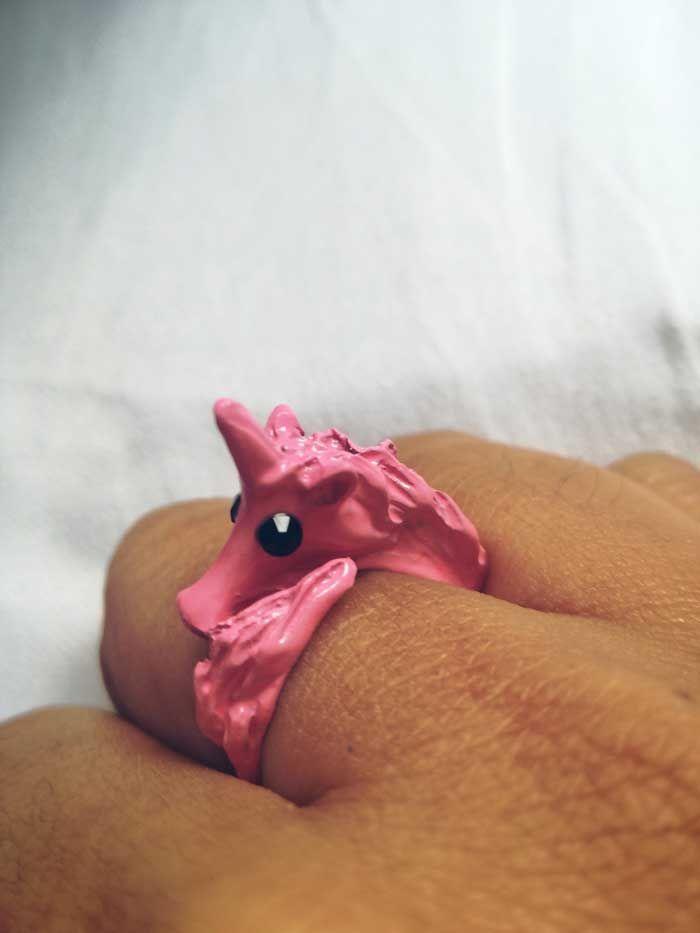 Anillo unicornio rosa