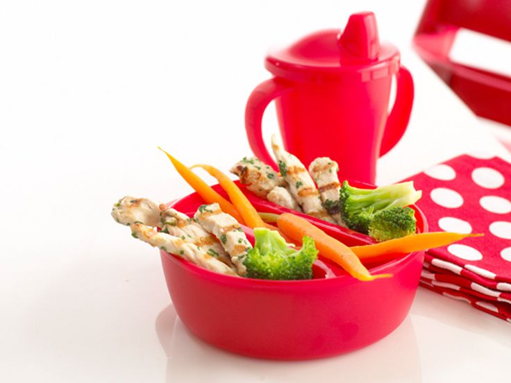 Grilled Chicken Breast Strips make good finger food. You could use the tomato sweet potato and cheese sauce as a dipping sauce to serve with these and some steamed veegtables.