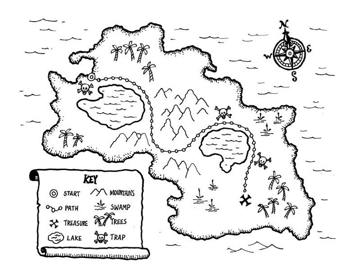 ... island pirate treasure map coloring pages for kids coloring book map