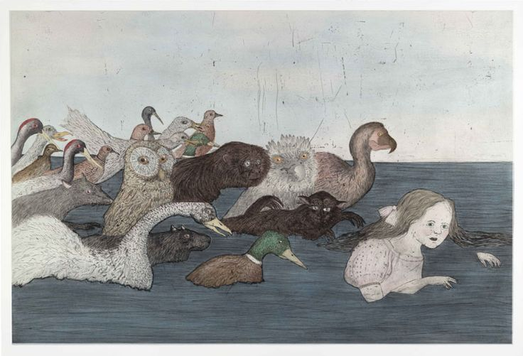 Kiki Smith, Pool of Tears 2 (After Lewis Carroll), 2000, Intaglio with hand colouring, © Courtesy of ULAE, inc.