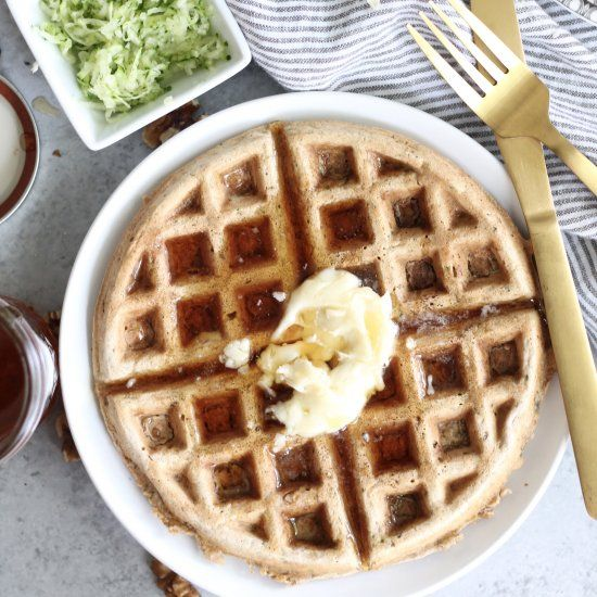 Your favorite flavors from zucchini bread made into waffles! They're perfect for weekend brunch & served w/ salted maple butter!