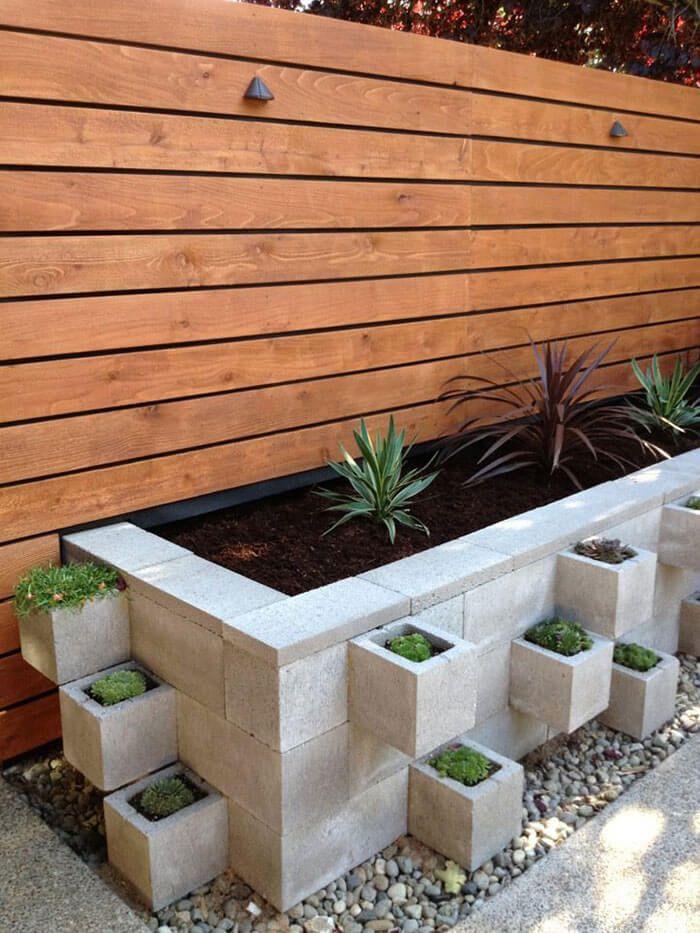 Modern Industrial Cinderblock Planter Bed