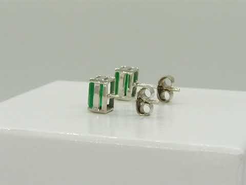 Emerald Stud Earrings in 18K White Gold with 2 Big Emerald Cut Natural Colombian Emeralds E-UGO-302 by www.GreenInGold.com #earrings #emeralds #jewelry #fashion #style #weddingjewelry #customjewelry #gemstones #emeraldcut