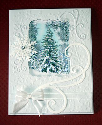 Gorgeous Snow Scene Card...with cut out swirls snowflake.