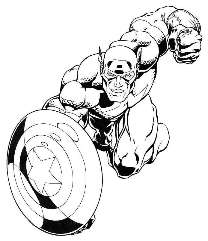 Captain America Marvel Superheroes Coloring Pages Avengers Boys Sheets Free Online And