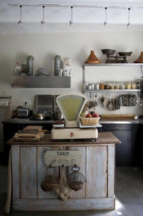 wiege eisen holz brett regale küche rustikal