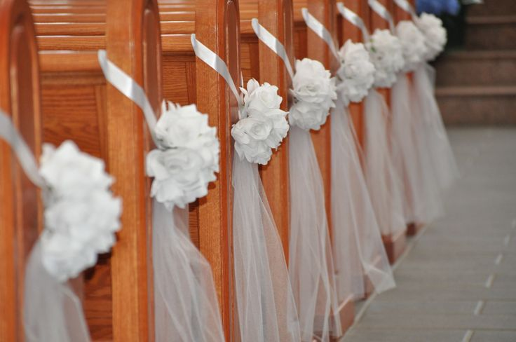 Unique Church Wedding Decoration Ideas: Set Of 10 Half Pomanders With Tulle Tail--- Pew Decor