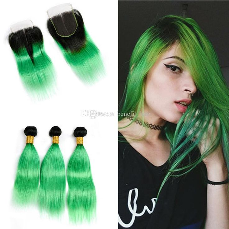 2019 Ombre Color #1B Green Hair Weft With Lace Closure 4X4 …