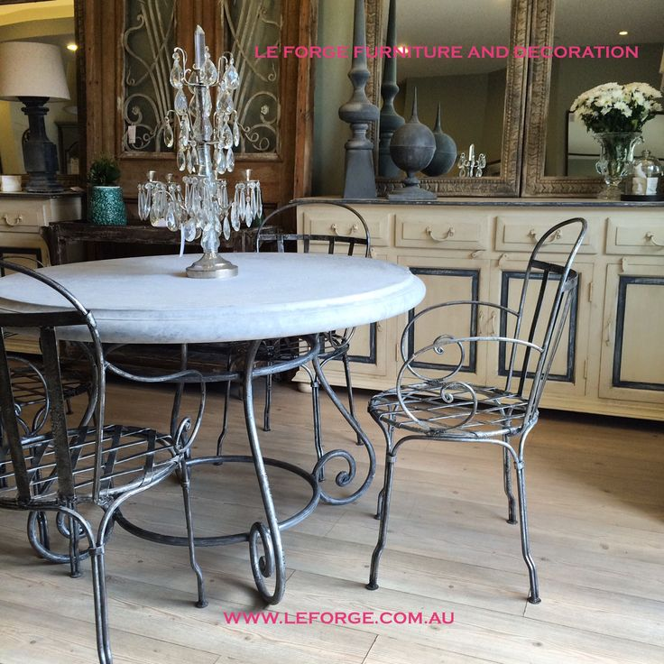 Steel /wrought iron Barney's table with cement top and Luxembourg Chairs hand crafted in our own studio. Weather resistant, manufactured for the Australian environment, won't rust or deteriorate.....made to last. www.leforge.com.au