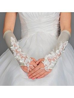 Elbow Length Flower Detailed Lace and Satin Bridal Gloves in Ivory - USD $9.99