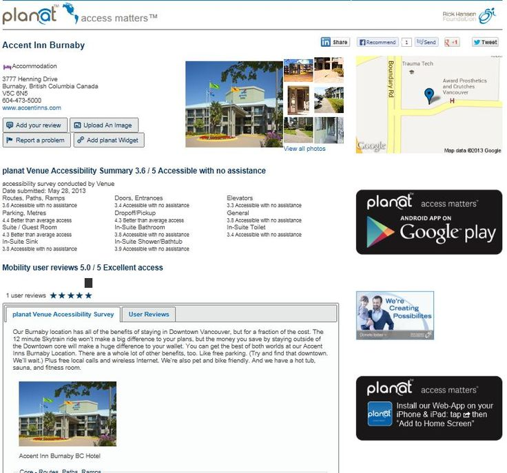 planat venue review page showing both venue and user created content.