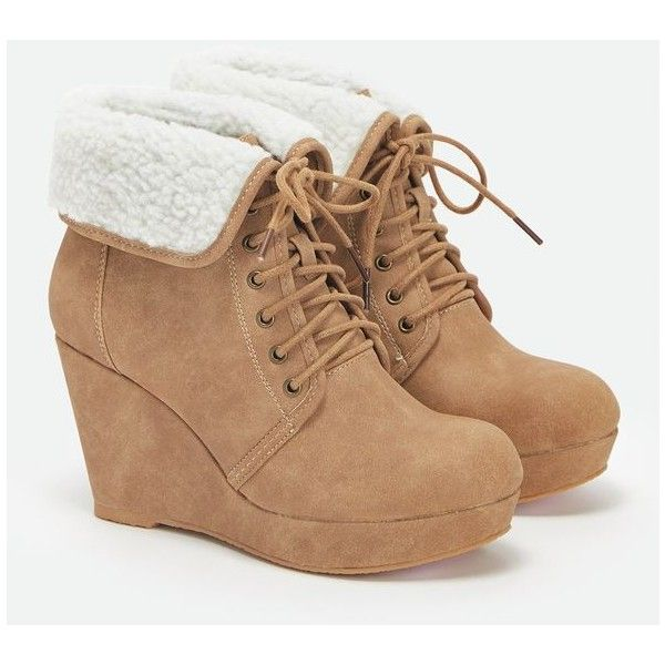 Justfab Booties Genesis ($40) ❤ liked on Polyvore featuring shoes, boots, ankle booties, heels, booties, wedges, brown, platform wedge booties, brown wedge booties and brown heeled booties