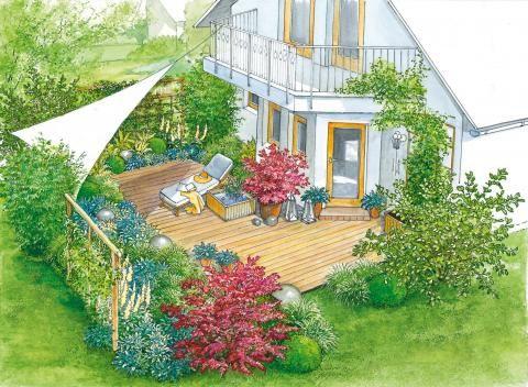 Terrasse Blattschmuckstauden und Gehölze