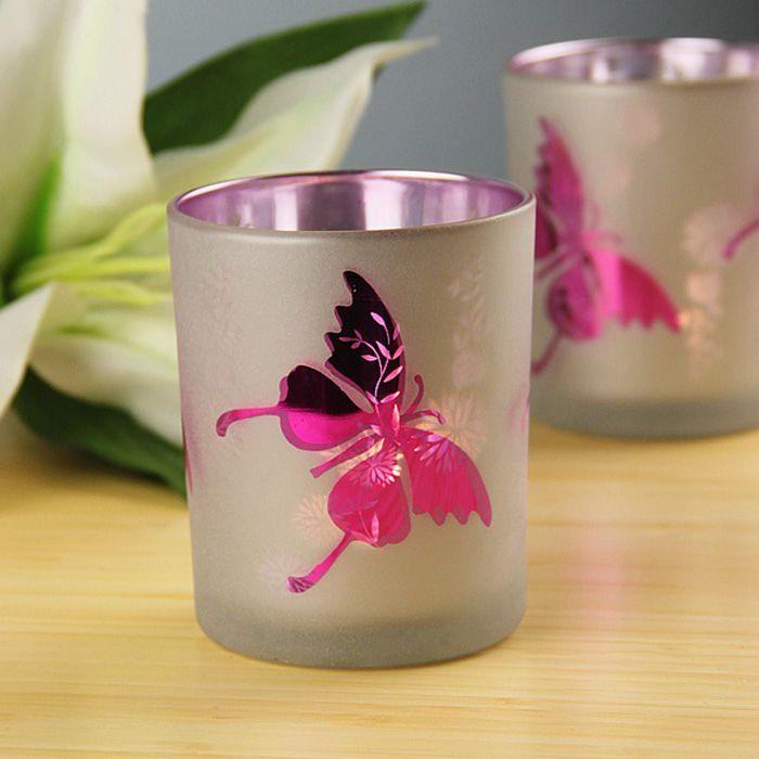 Стеклянные подсвечники чашки Фиолетовый Бабочка Бар ресторан романтический ужин при свечах украшения украшения дома подарки
