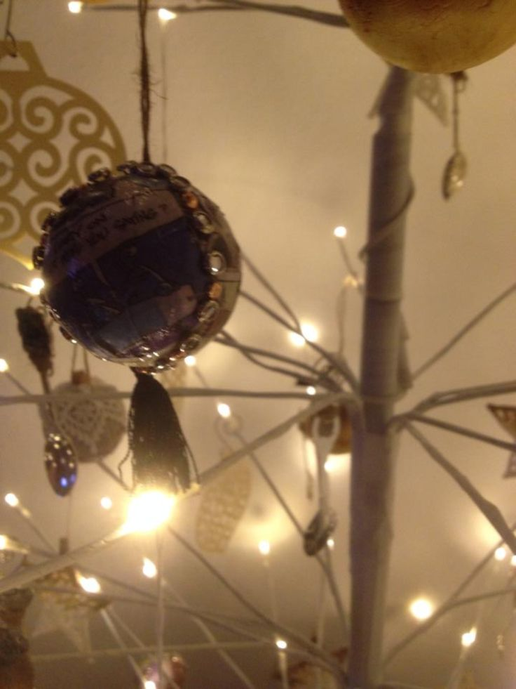 Comic strip bauble, use the same method as the newspaper bauble, add push pins and a tassel on the bottom