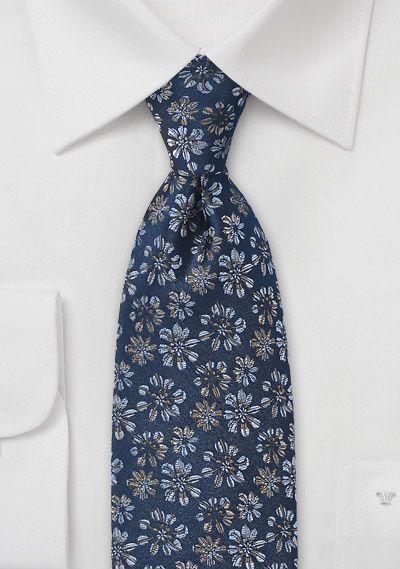 Marine Blue Necktie with Flowers | $20 on Cheap-Neckties