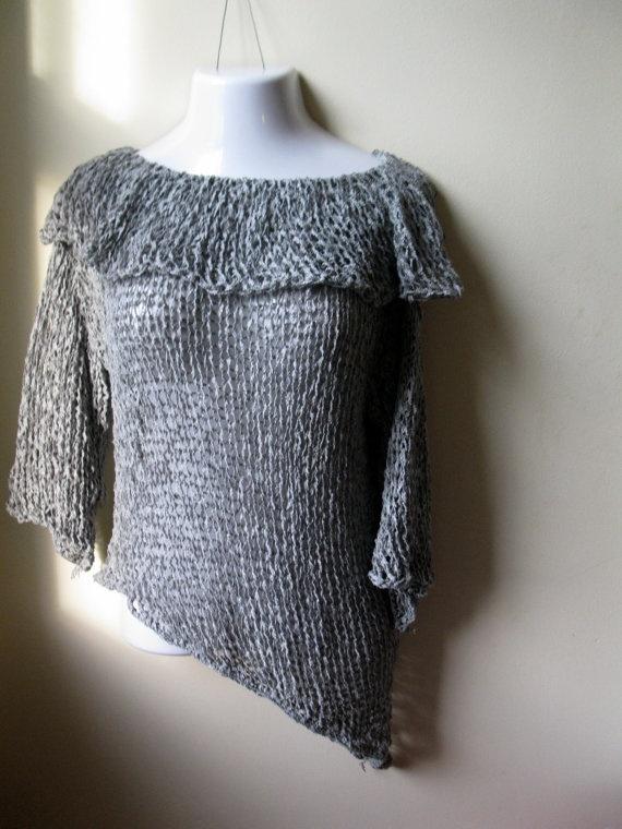 Knit Grey Asymmetrical  hem Cowl neck sweater by Elegantcrochets, $98.00
