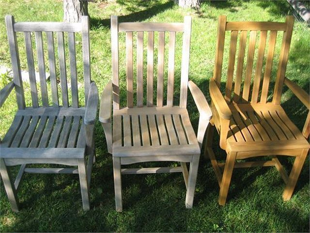 Teak Furniture Care And Maintenance. (Left Right) Teak With A Grayish  Patina, Teak After Cleaning, And Sealed Teak. Part 42