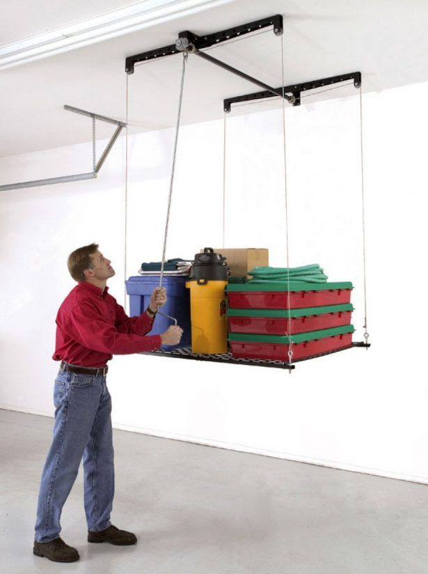Furniture Awesome Garage Ceiling Storage System With Pulled Up And Down System For Practical Use Extraordinary Garage Ceiling Storage