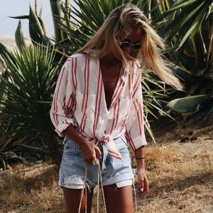 Elle MacPherson's Super Elixir | sheerluxe.com - Lovin' the striped shirt ... need to get one of those for summer (in linen) !