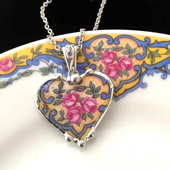 Broken china jewelry -  antique china - pink roses on blue porcelain - broken china jewelry heart pendant necklace by dishfunctionldesigns on Etsy
