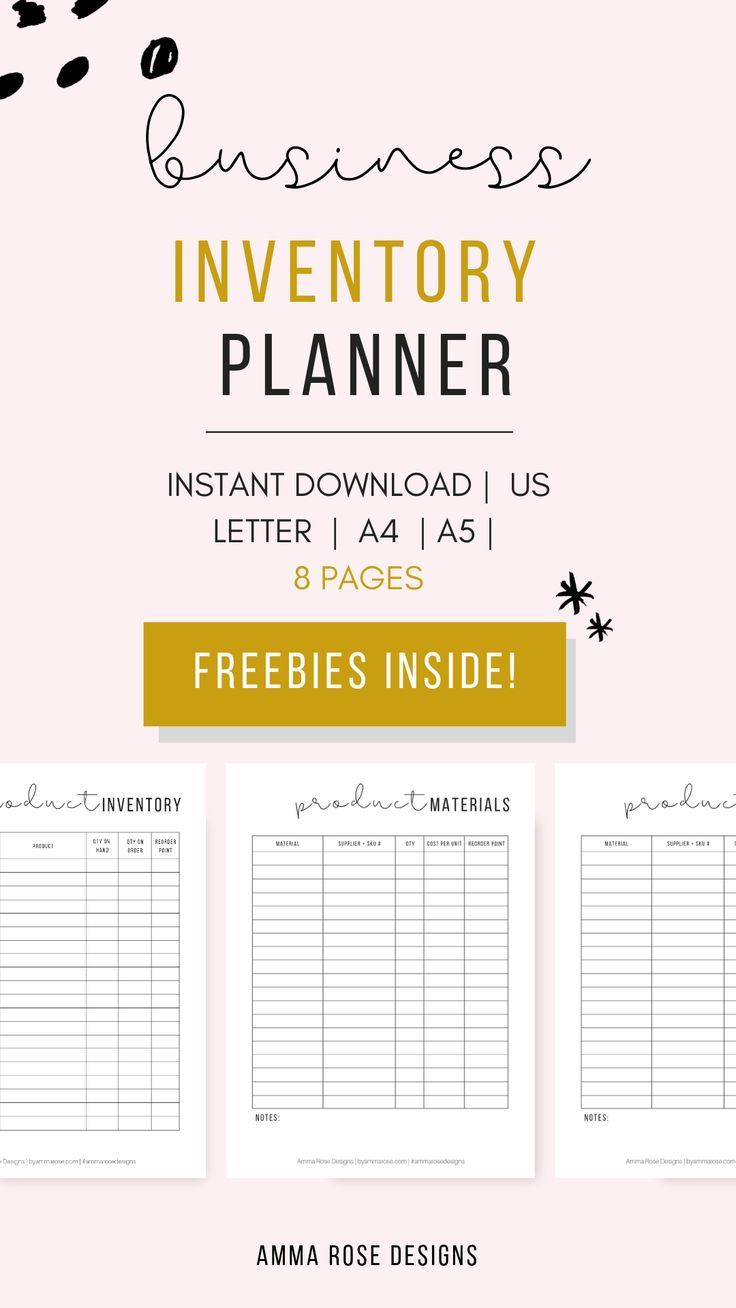 Business inventory organizer printable planner